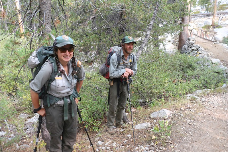 We met two backcountry National Park Rangers at the Le Conte Ranger Station near the Dusy Branch bridge