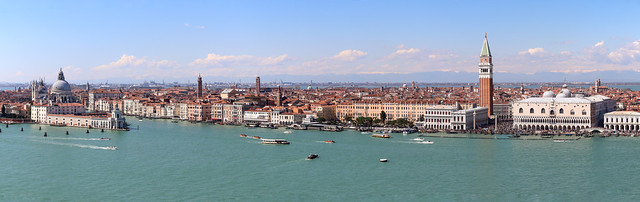 An aerial view on Venice from the campanile (bell tower) of San Giorgio Maggiore, Venice, Italy