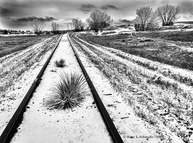 Abandoned Railroad On A Snowy Day