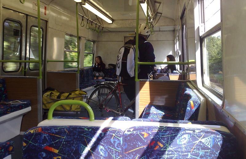 Large bike inside Hitachi train carriage (December 2010)