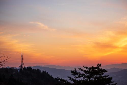 japan sunset winter yamagata nature sky
