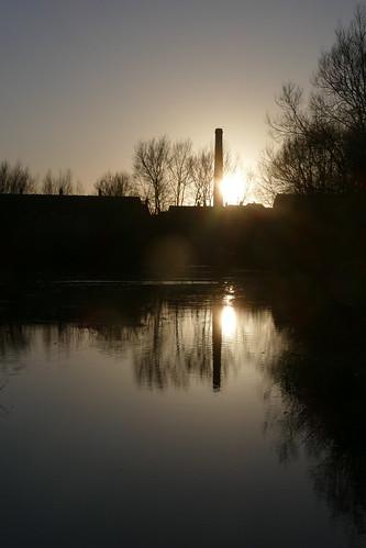 sunset sun chimney witney oxfordshire westoxfordshire floods flooding