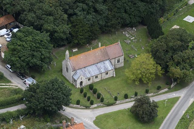 Shernborne aerial image: St Peter & St Paul's church