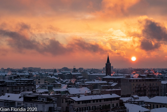 Milanese sunset after snow storm