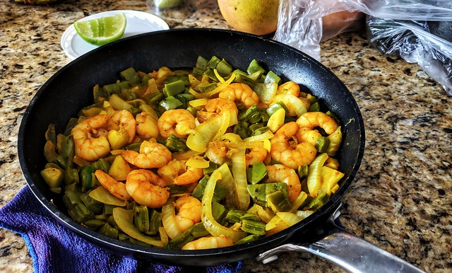 Shrimp, Onions, and Cactus Leaves