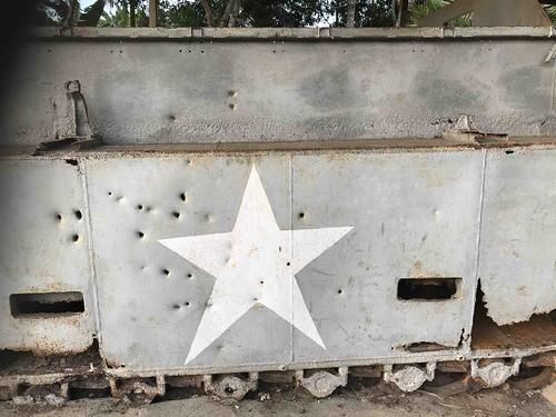 Amerikaanse ster aan de zijkant van een tank.