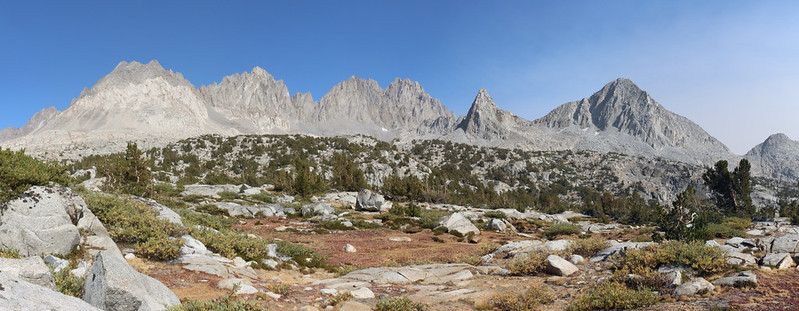 One of the best views in the Sierra, from the Bishop Pass Trail in Dusy Basin, looking east at the Sierra Crest