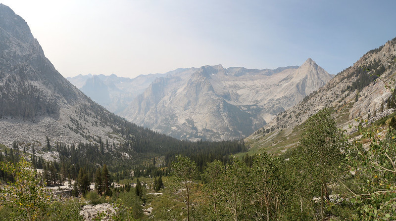 Panorama view down into Le Conte Canyon from high on the Bishop Pass Trail, with The Citadel and Langille Peak