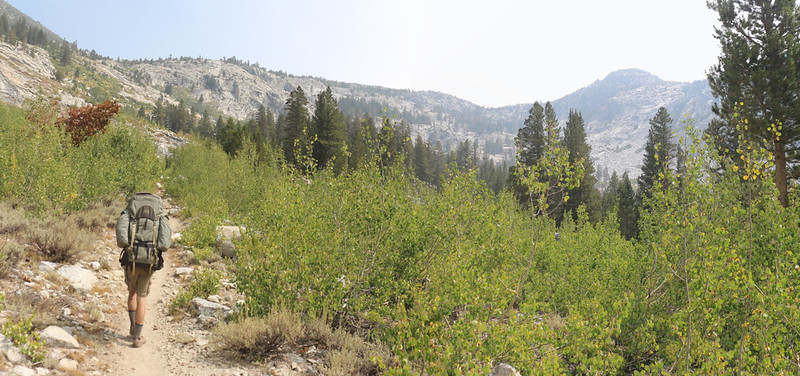 The Bishop Pass Trail eases a bit as we enter a lower basin (just below Dusy Basin), with Peak 11458 on the right