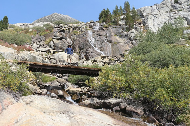 Footbridge on the Bishop Pass Trail and a waterfall on the Dusy Branch