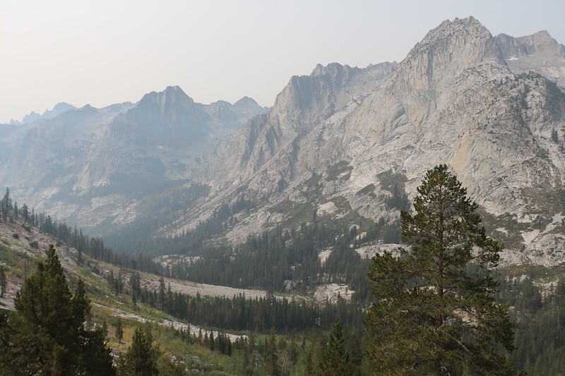Views of The Citadel, Peak 11722, and Peak 12075 across Le Conte Canyon from the Bishop Pass Trail