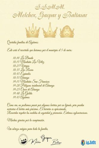 Carta firmada por SS.MM los Reyes Magos en la que informan del recorrido y el horario aproximado de paso por los barrios del municipio