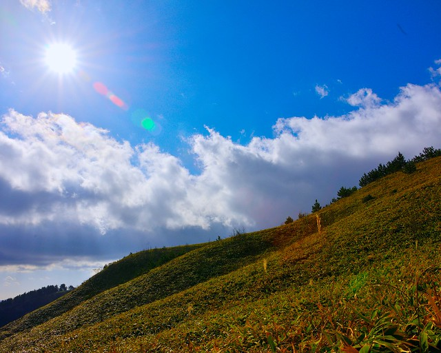 Blue sky, Clouds, Mountain in late autumn
