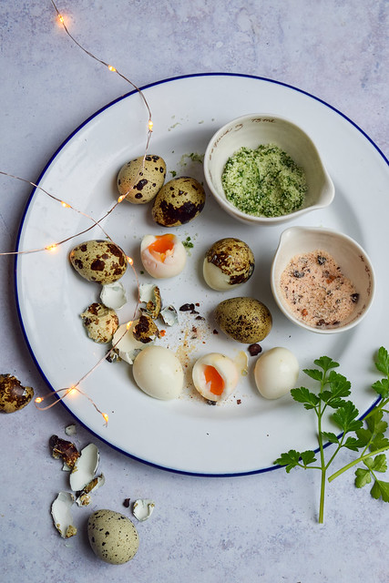 Quails Eggs with Homemade Dipping Salts