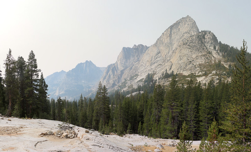 The Citadel, Peak 11722, and Peak 12075 across Le Conte Canyon from the Bishop Pass Trail as we climb upward