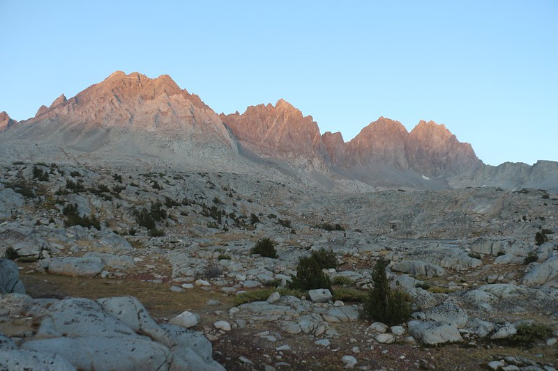Alpenglow on Agassiz, Winchell, Thunderbolt, and North Palisade from the Bishop Pass Trail in Dusy Basin