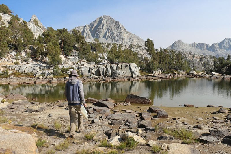 This tarn in Dusy Basin was larger and was still clear and clean, so we filtered water from it, Columbine Peak (center)