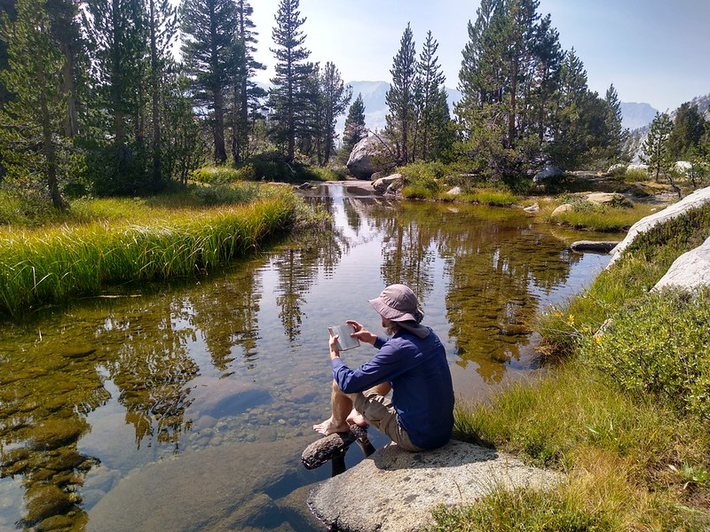 It was time for an extended break, along a smooth-flowing stretch of the Dusy Branch, on the Bishop Pass Trail