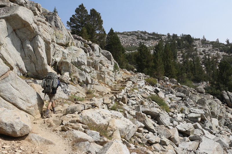 The Bishop Pass Trail is well made, with stone steps leading up to Dusy Basin