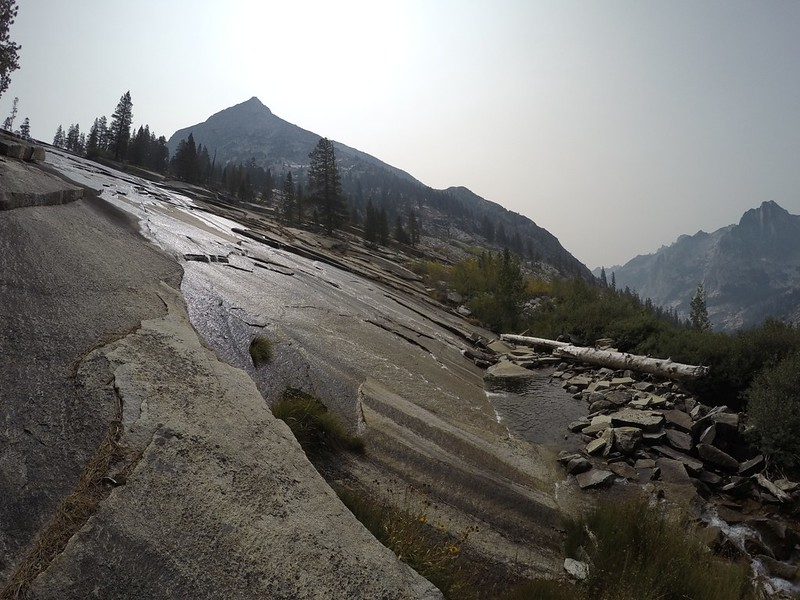 Wide-angle shot of the Dusy Branch cascading down into Le Conte Canyon, with Peak 11458 and The Citadel