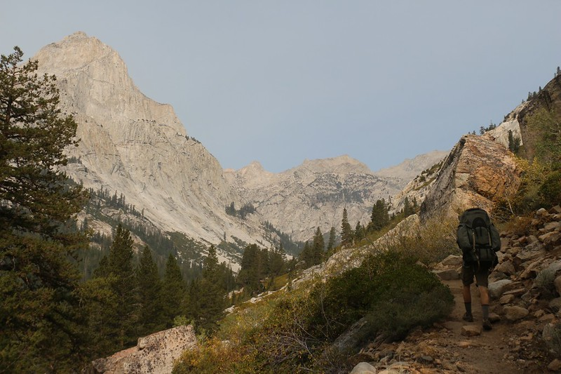 Langille Peak (12018 feet elevation) and Le Conte Canyon as we climb toward Dusy Basin on the Bishop Pass Trail