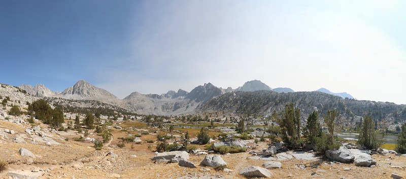 Panorama view over lower Dusy Basin from the Bishop Pass Trail, with Columbine Peak and Giraud Peak