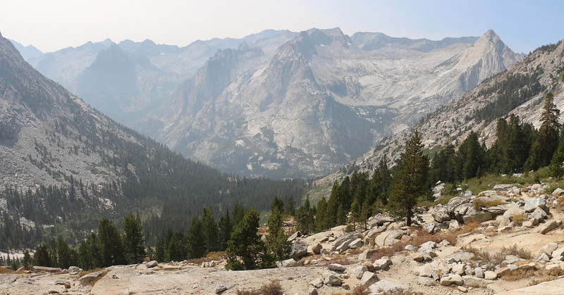 One last view of Le Conte Canyon as we climb out of the lower basin on the Bishop Pass Trail