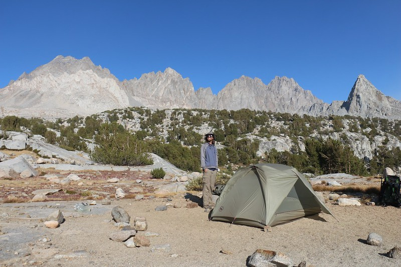 Our tent and campsite in Dusy Basin with Agassiz, Winchell, Thunderbolt, North Palisade, and Isosceles