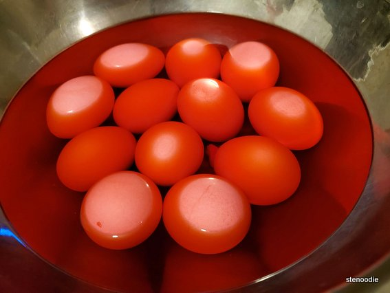 Dyed red eggs to celebrate baby's 100 days