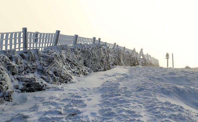 Summit of Buckden Pike in winter time