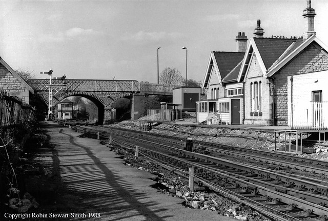 LMS Shirebrook West Station remains and Shirebrook Junction Signal Box on 13th April 1988
