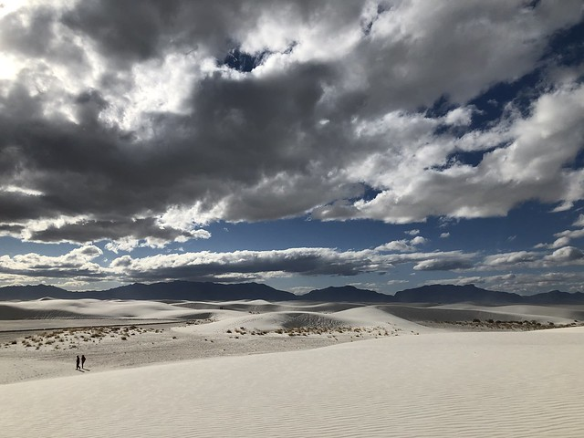 Dunes, clouds, and mountains near West Filming Area, White Sands National Park, New Mexico