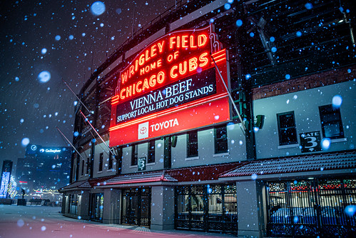 "Wrigley Field Home of Chicago Cubs Marquee - Winter Snow | ""Vienne Beef, Support Local Hot Dog Stands"""