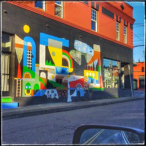 wallwednesday mural streetart iaintgoinghome pbwa fromcar rearviewmirror windowreflection