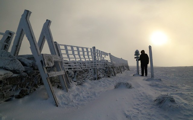 At the summit of Buckden Pike