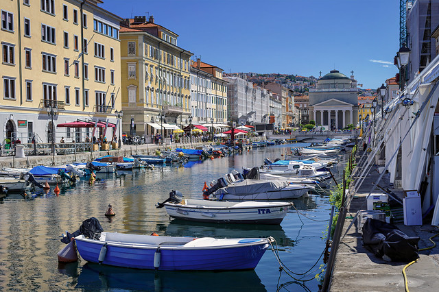 The Canal Grande in the Borgo Teresiano quarter of Trieste, Italy