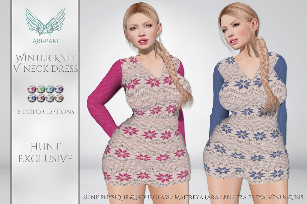 [Ari-Pari] Winter Knit V-Neck Dress