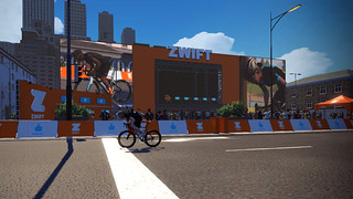 Sprinting for the line on Zwift's new Crit City course