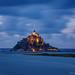 Mont-Saint-Michel at dusk.