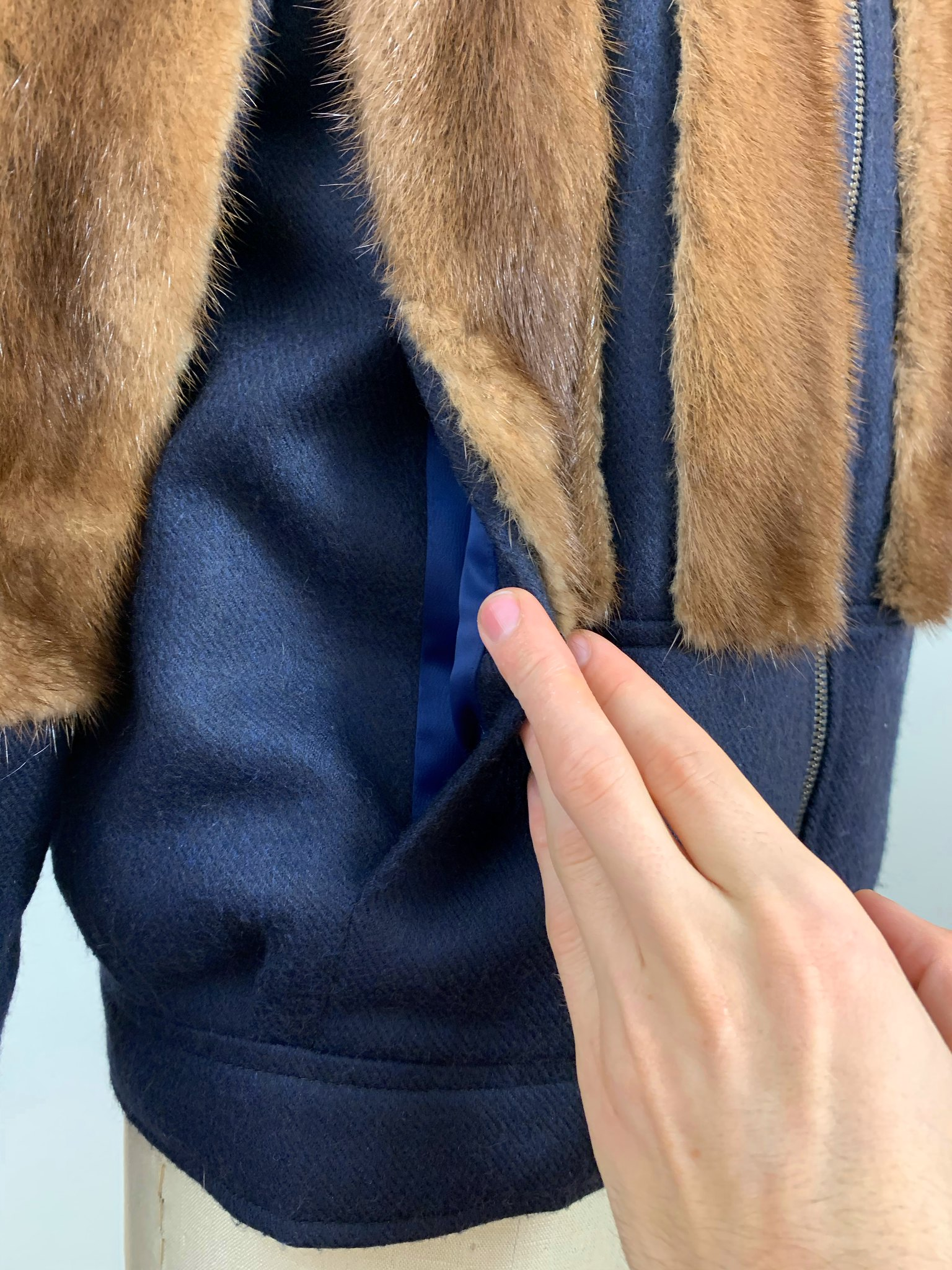 Cashmere and reclaimed mink coat