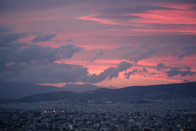 dusk in athens