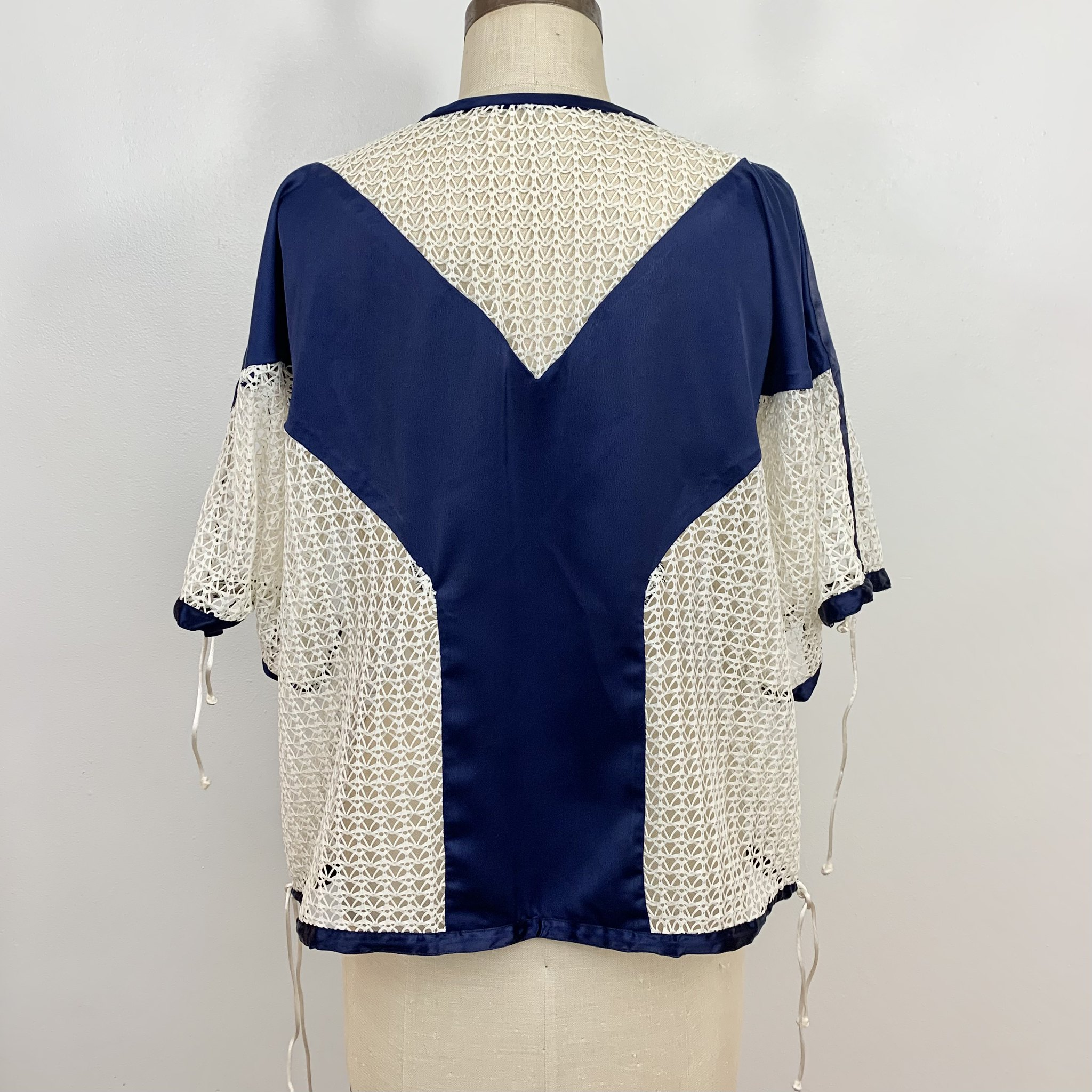 Mesh and silk top