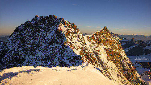 Dufourspitze and Nordend with early morning light
