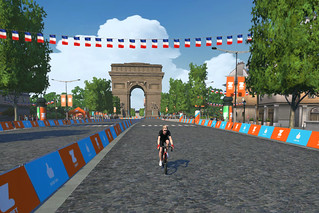 Taking my laps on the Champs-Elysees in Zwift's new Paris/France expansion