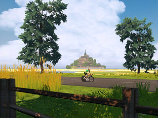 Enjoying the French countryside, with Mont Saint-Michel as backdrop
