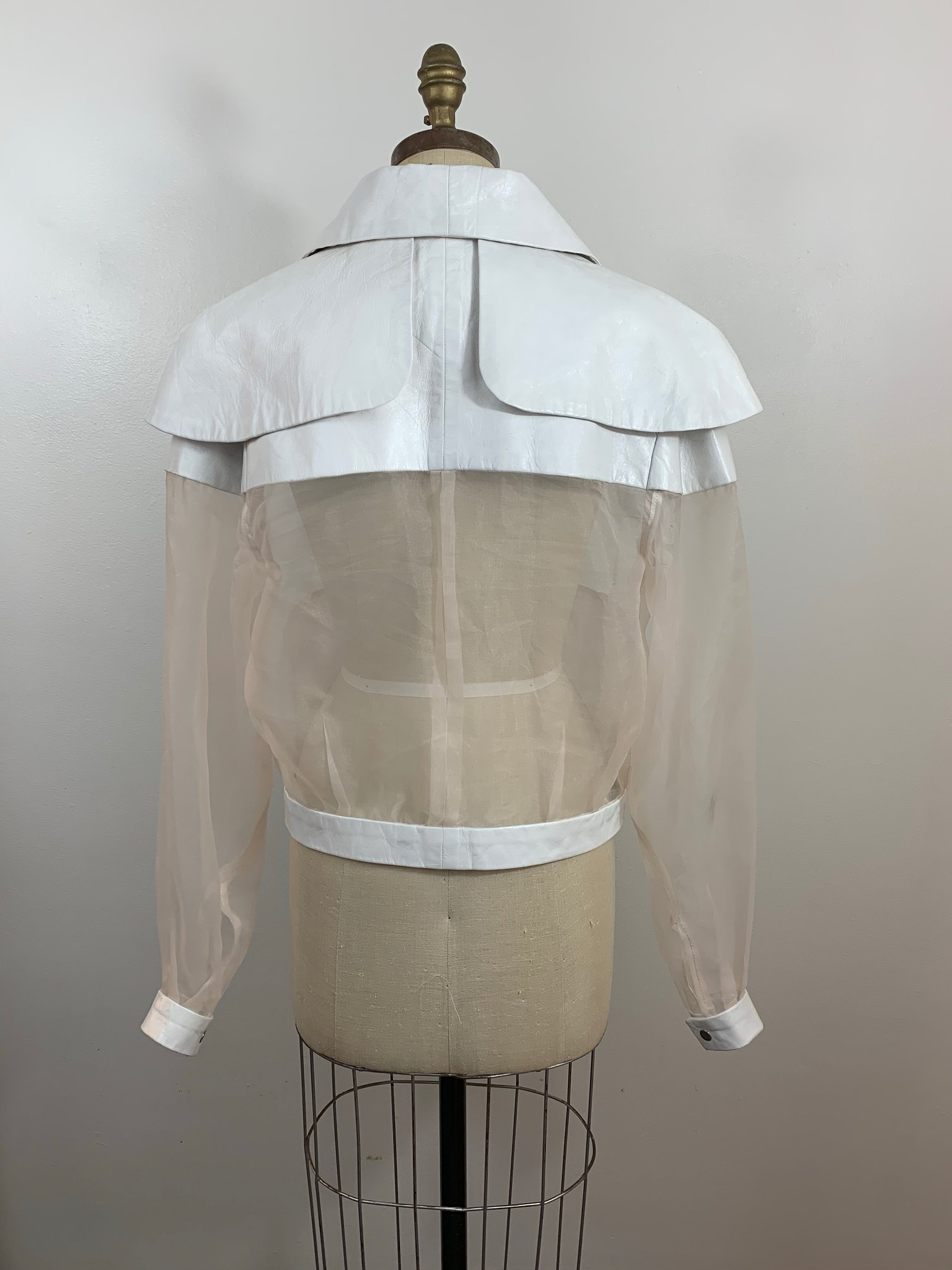 Organza and leather jacket