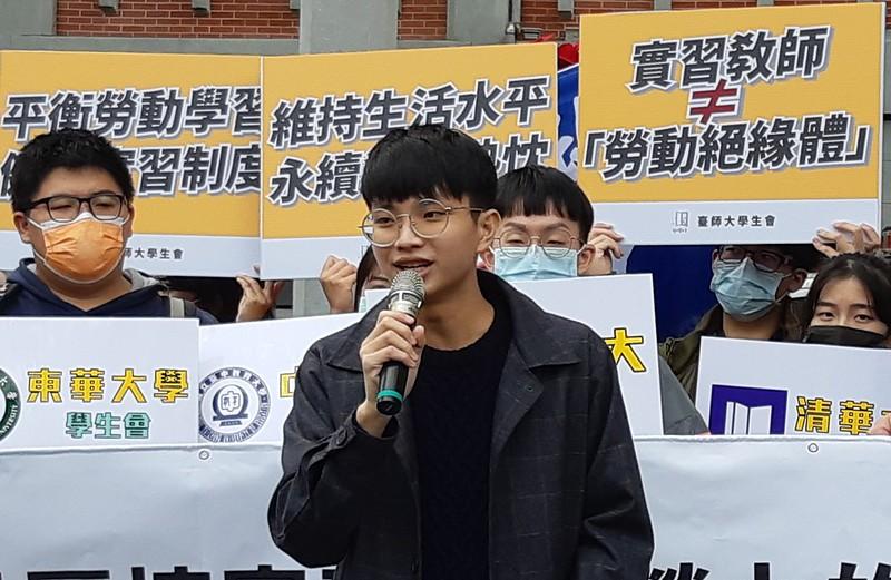 臺師大學生會為此次倡議的發起組織,圖為會長吳炳毅。圖/許霈玟攝