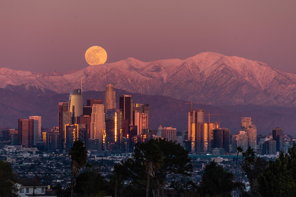 Full Cold Moonrise at Downtown Los Angeles