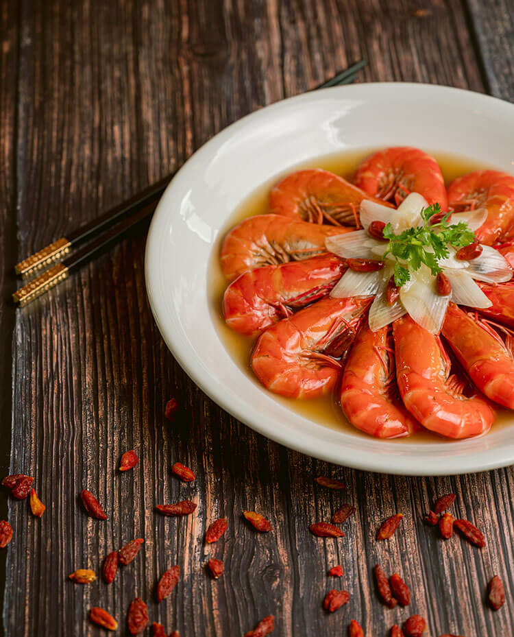 Live Prawns Boiled with Chinese Wine