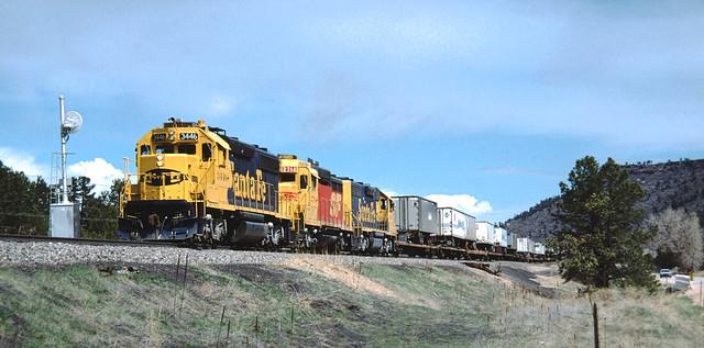 ATSF 3446 #Q-DVLJ Southbound near Larkspur, CO April 24, 1988